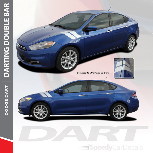 DART DOUBLE BAR : 2013-2016 Dodge Dart Fender Hash Stripes Vinyl Graphic Decals Stripe Kit