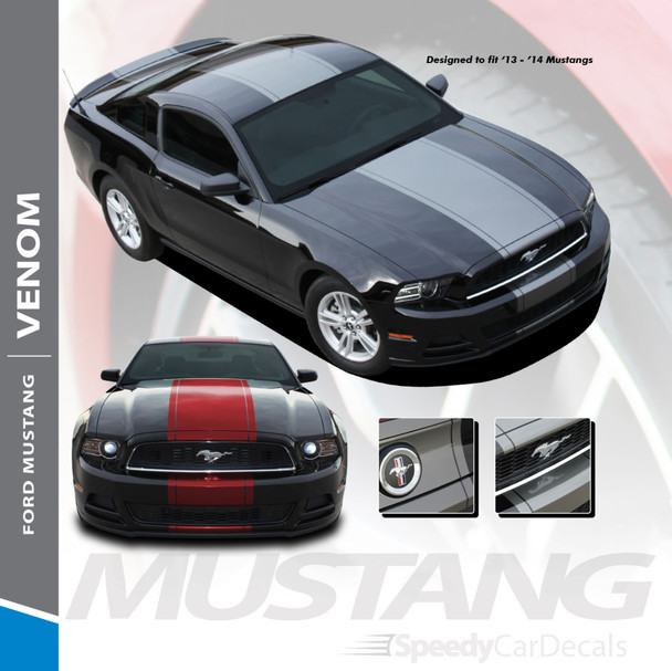 VENOM : 2013-2014 Ford Mustang Super Snake Center Hood Wide Racing Stripes Rally Decals Vinyl Graphics Kit