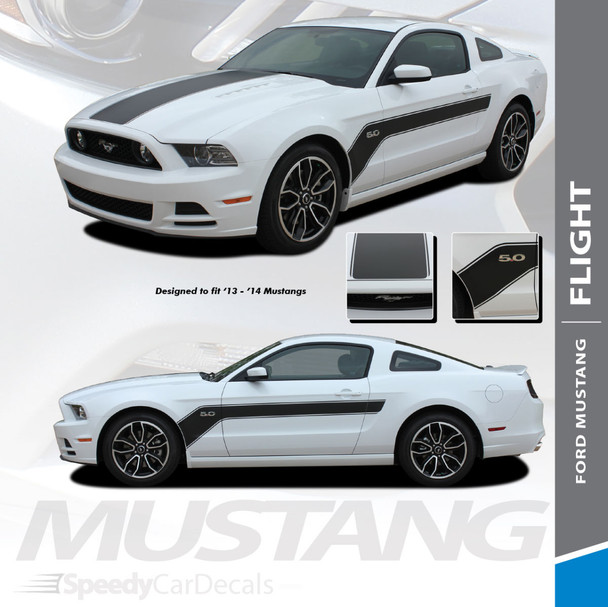 FLIGHT : 2013-2014 Ford Mustang Hockey Stick Style Hood and Side Vinyl Graphics Stripe Decal Kit