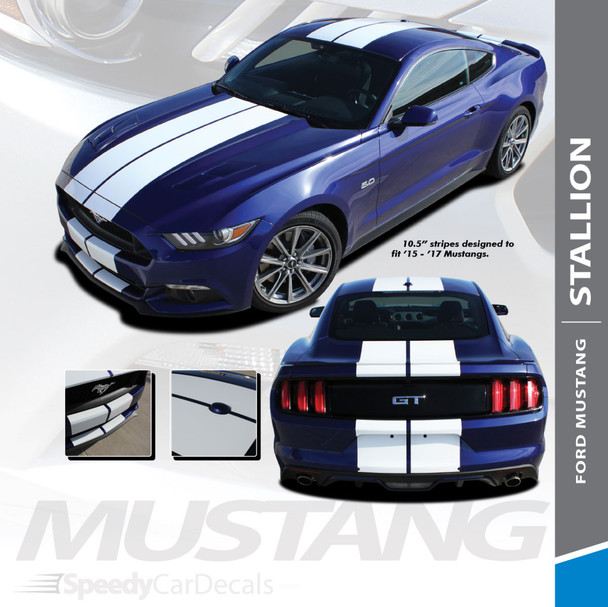 """STALLION : 2015-2017 Ford Mustang Lemans Style 10"""" Wide Racing Rally Stripes Vinyl Graphics Kit"""