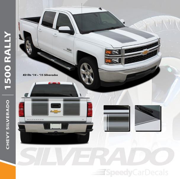 RALLY 1500 : 2014 2015 Chevy Silverado Rally Edition Style Hood Vinyl Graphic Decal Racing Stripe Kit