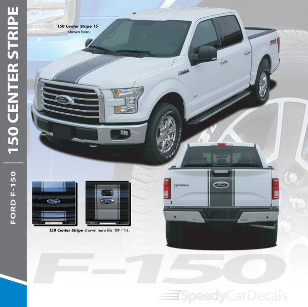 F-150 CENTER STRIPE : 2015-2018 Ford F-150 Center Hood Tailgate Vinyl Racing Stripes Graphics Decals Kit