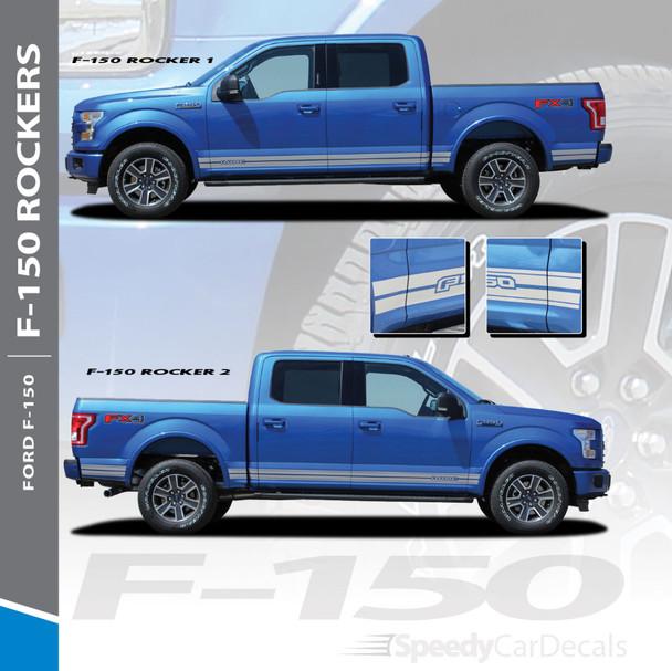 F-150 ROCKER TWO : 2015-2018 2019 2020 2021 Ford F-150 Lower Door Rocker Panel Stripes Vinyl Graphic Decals Kit
