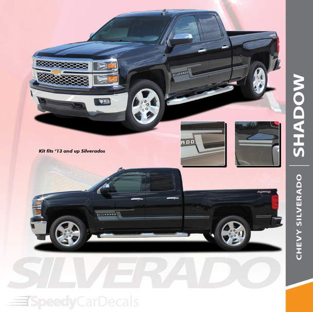 SHADOW : 2014-2018 Chevy Silverado Vinyl Graphic Decal Lower Body Accent Stripe Kit