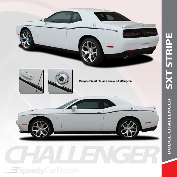 SXT STRIPE : 2011-2018 2019 Dodge Challenger Thin Side Door Factory Style Vinyl Graphic Stripes