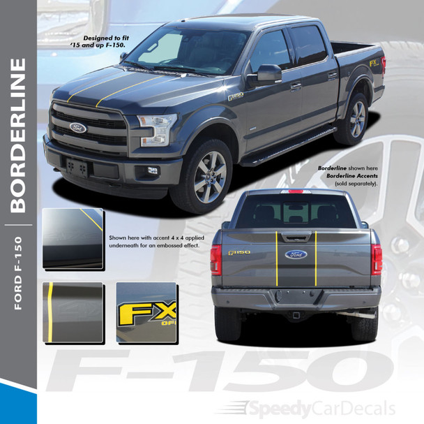 BORDERLINE : 2015-2018 Ford F-150 Center Wide with Accent Racing Stripes Vinyl Graphics Decals Kit