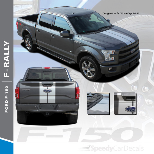 F-RALLY : 2015-2018 Ford F-150 Split Center Racing Stripes Vinyl Graphics and Decals Kit