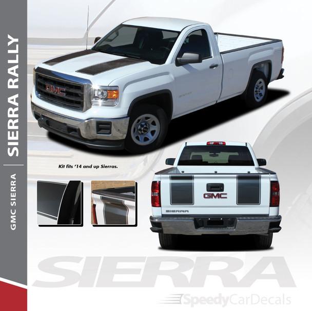 SIERRA RALLY : 2014-2018 GMC Sierra Rally Edition Style Vinyl Graphic Decal Racing Stripe Kit
