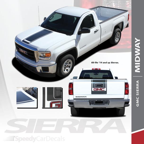 MIDWAY : 2014-2018 GMC Sierra Center Hood & Tailgate Vinyl Graphic Decal Racing Stripe Kit