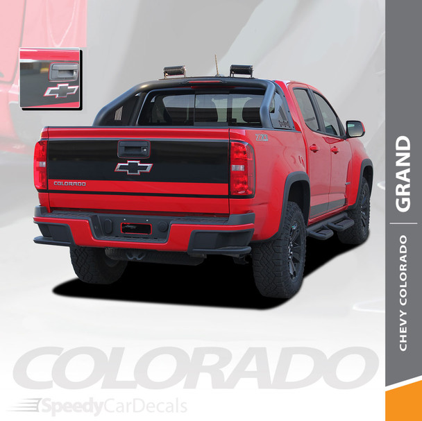 GRAND : 2015-2020 Chevy Colorado Rear Tailgate Blackout Accent Vinyl Graphic Package Decal Stripe Kit Wet and Dry Install Vinyl
