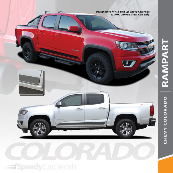 RAMPART : 2015-2018 2019 Chevy Colorado Lower Rocker Panel Accent Vinyl Graphic Factory OEM Style Decal Stripe Wet and Dry Install Vinyl Kit