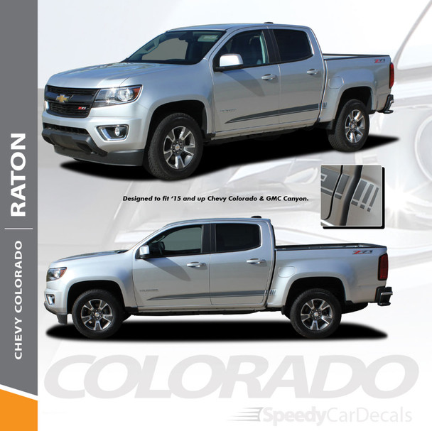 RATON : 2015-2018 2019 Chevy Colorado Lower Rocker Panel Accent Vinyl Graphic Package Factory OEM Style Decal Stripe Kit Wet and Dry Install Vinyl
