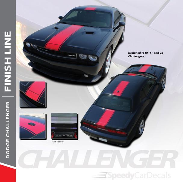 FINISH LINE :  2011-2018 2019 2020 2021 Dodge Challenger Center Wide Rallye Redline Style Vinyl Racing Stripes Hood Decal Graphics Kit