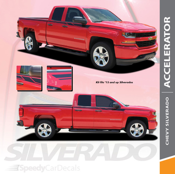 ACCELERATOR : 2014-2018 Chevy Silverado Upper Body Line Accent Rally Side Vinyl Graphic Decal Stripe Kit