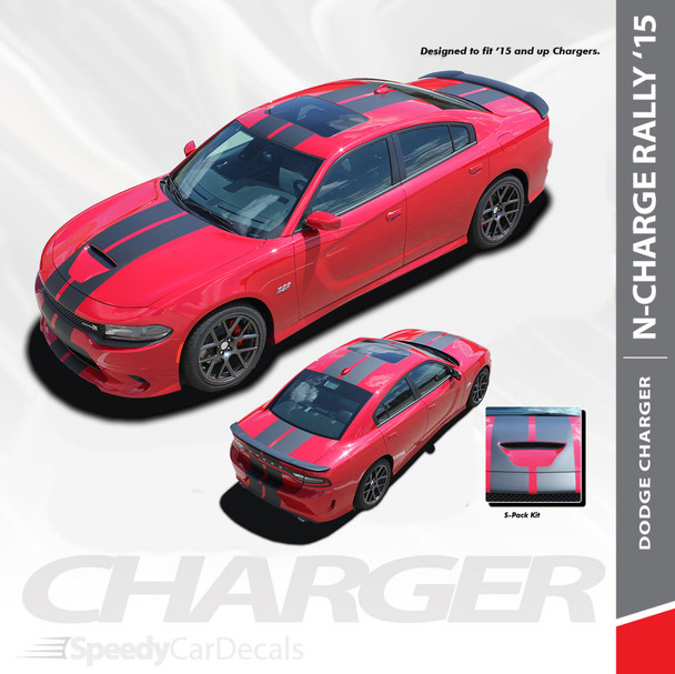 N-CHARGE RALLY S-PACK : 2015-2019 2020 Dodge Charger R/T Scat Pack SRT 392 Hellcat Racing Stripe Rally Vinyl Graphics Decals Kit