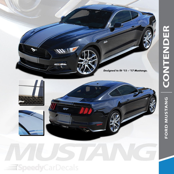 CONTENDER : 2015 2016 2017 Ford Mustang Wide Center Bumper to Bumper Hood Racing Rally Stripes Vinyl Graphics Kit