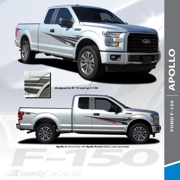 APOLLO : 2015-2018 Ford F-150 Side Door Splash Design Stripes Vinyl Graphics and Decals Kit