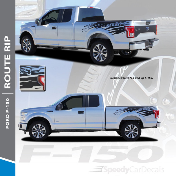 ROUTE RIP : 2015-2018 Ford F-150 Mudslinger Side Truck Bed 4X4 Vinyl Graphics and Decals Striping Kit