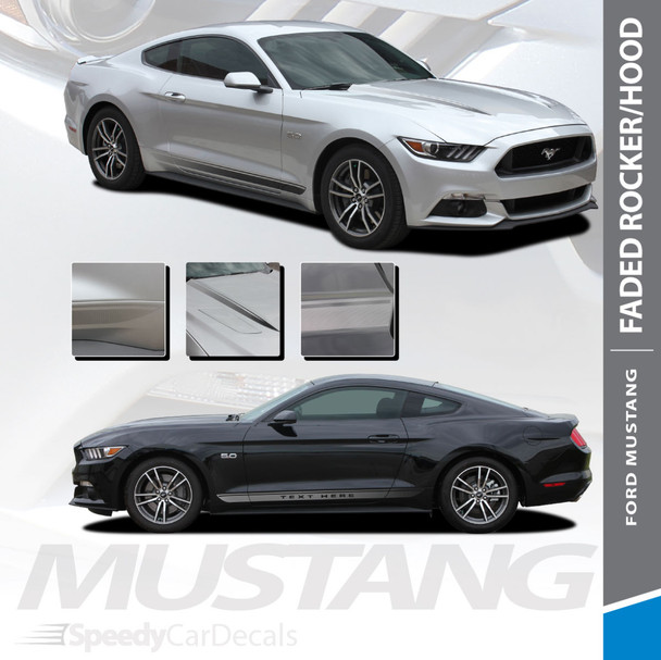 FADED COMBO : 2015-2017 Ford Mustang Lower Rocker Panel and Hood Spear Fade Stripes Vinyl Graphic Decals Kit