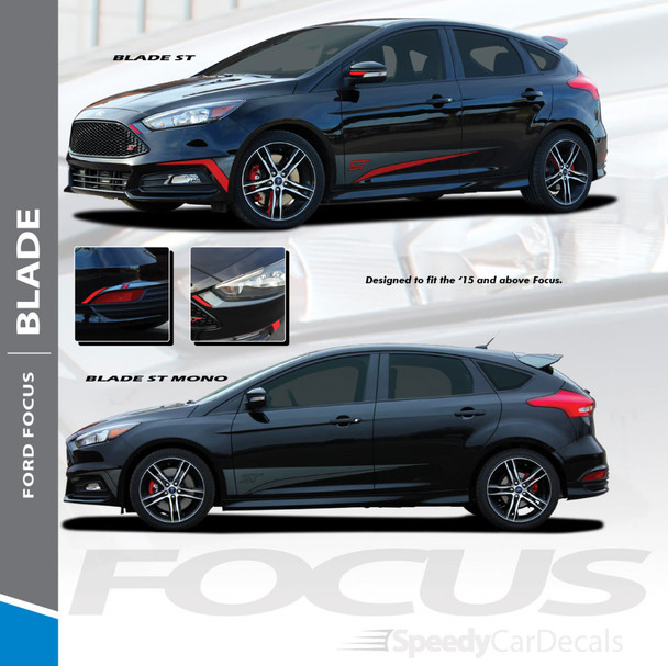 Ford Focus St Side Decals Blade 2 Color 2015 2016 2017 2018 Wet And