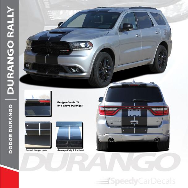 DURANGO RALLY : 2014-2018 2019 2020 2021 Dodge Durango Hood Racing Stripes Vinyl Graphics Accent Decal Kit