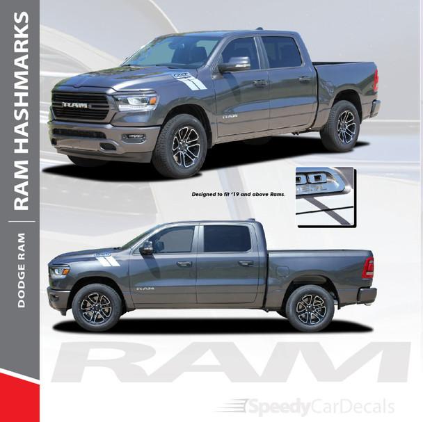 RAM HASH MARKS : 2019 2020 2021 Dodge Ram Hood Hash Marks Stripes Decals Vinyl Graphics Kit
