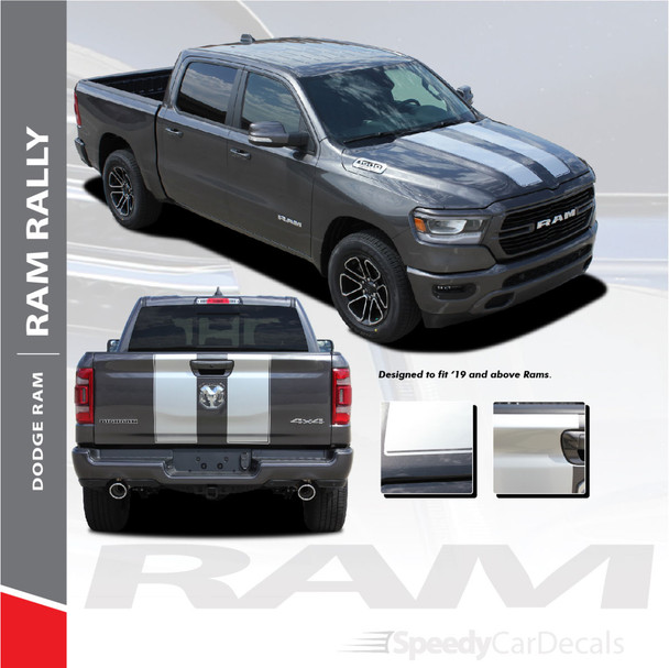 RAM RALLY : 2019-2020 Dodge Ram Racing Stripes Full Hood Rally Stripes Decals Vinyl Graphics Accent Kit