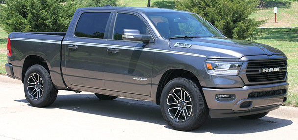 Side angle of 2019 Ram 1500 Stripes RAM EDGE Side Decals Kit 2019 2020 2021