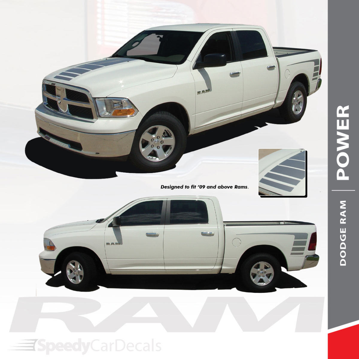 Power 2009 2018 dodge ram strobe hood truck bed stripe decal vinyl graphics kit