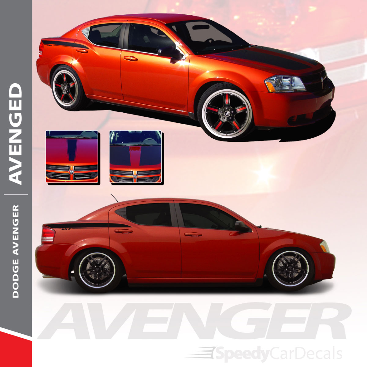 2008 2015 Hood Trunk Stripes Decals Graphics for Dodge Avenger 3M