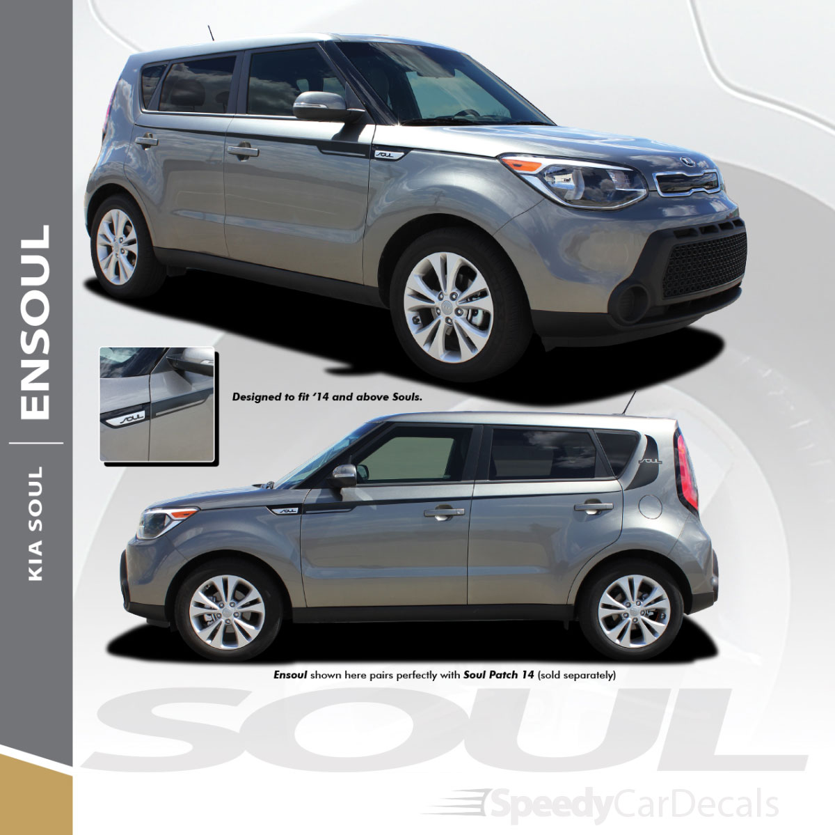 Ensoul kia soul side decals vinyl stripes graphics 2014 2018 3m wet install and