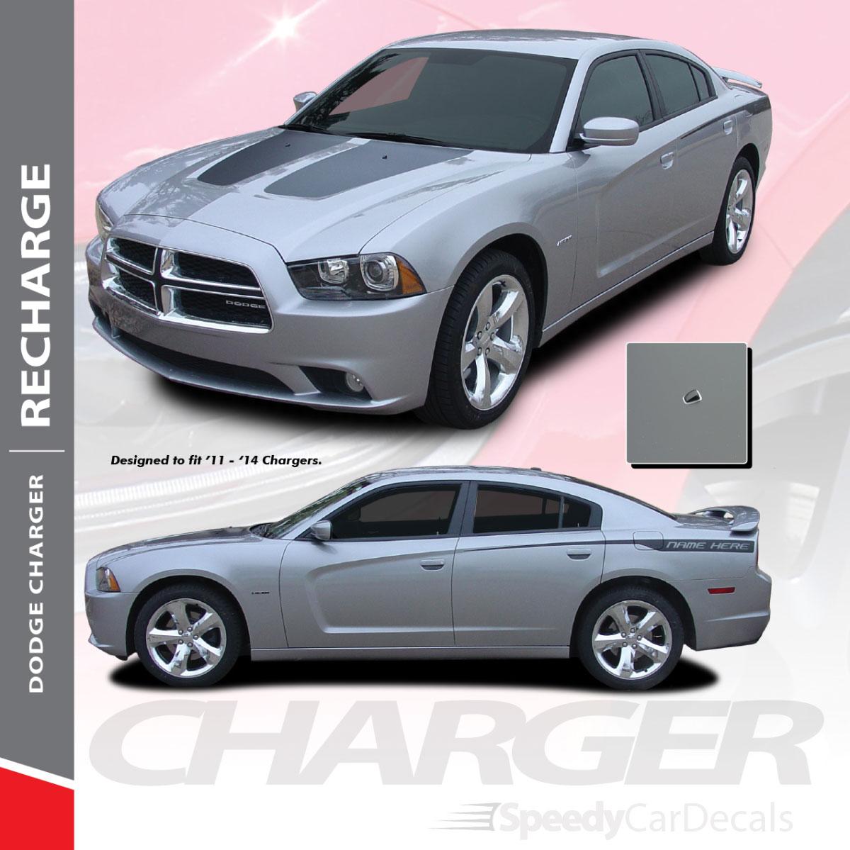 Vinyl Decal Wrap Kit for 2011-2014 Dodge Charger MODERN SIDE STRIPES Matte Black