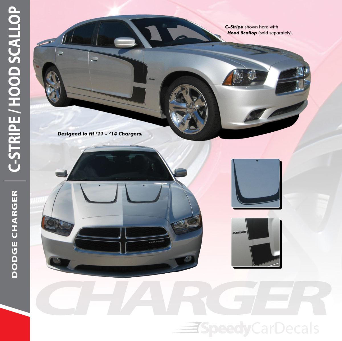 C STRIPE2011-2014 Dodge Charger C Stripe Vinyl Graphics Decals 3M Wet Install