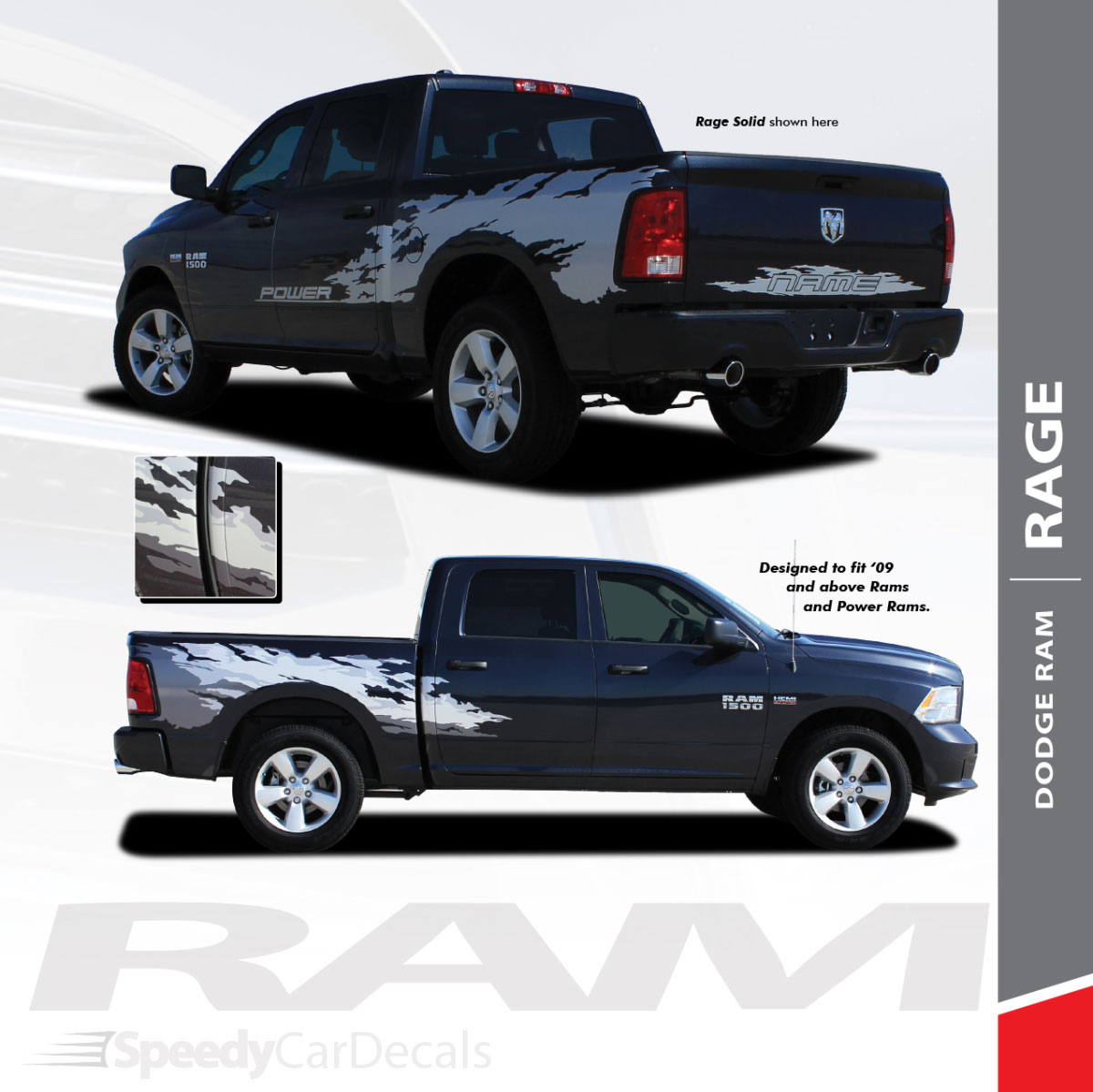 Ram Rage Solid 2009 2018 Dodge Ram Power Wagon Style Vinyl Graphics Truck Bed Decal Striping Kit Speedycardecals Fast Car Decals Auto Decals Auto Stripes Vehicle Specific Graphics