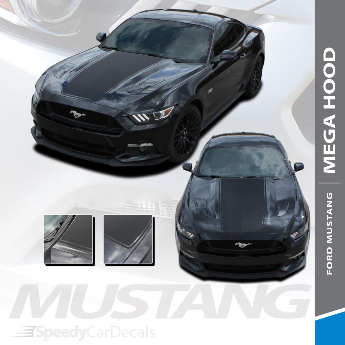 CONTENDER Center Hood Rally Stripes Decals 3M Vinyl 2015-2017 Ford Mustang V8 V6