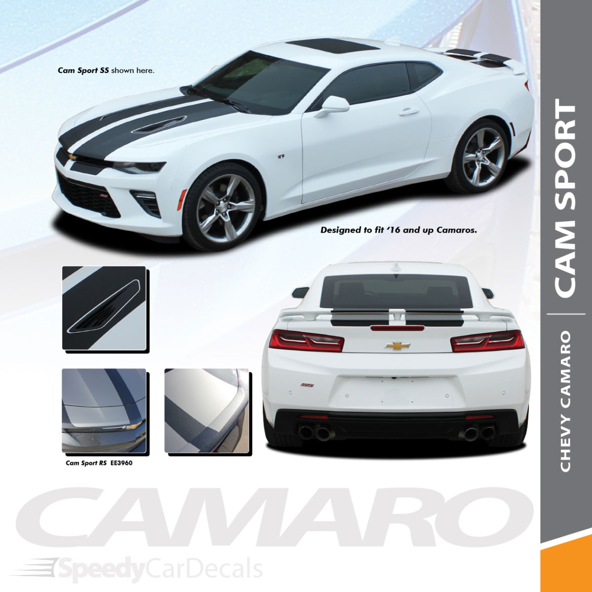 Chevy camaro racing stripes cam sport 2016 2018 rally vinyl graphics wet and dry