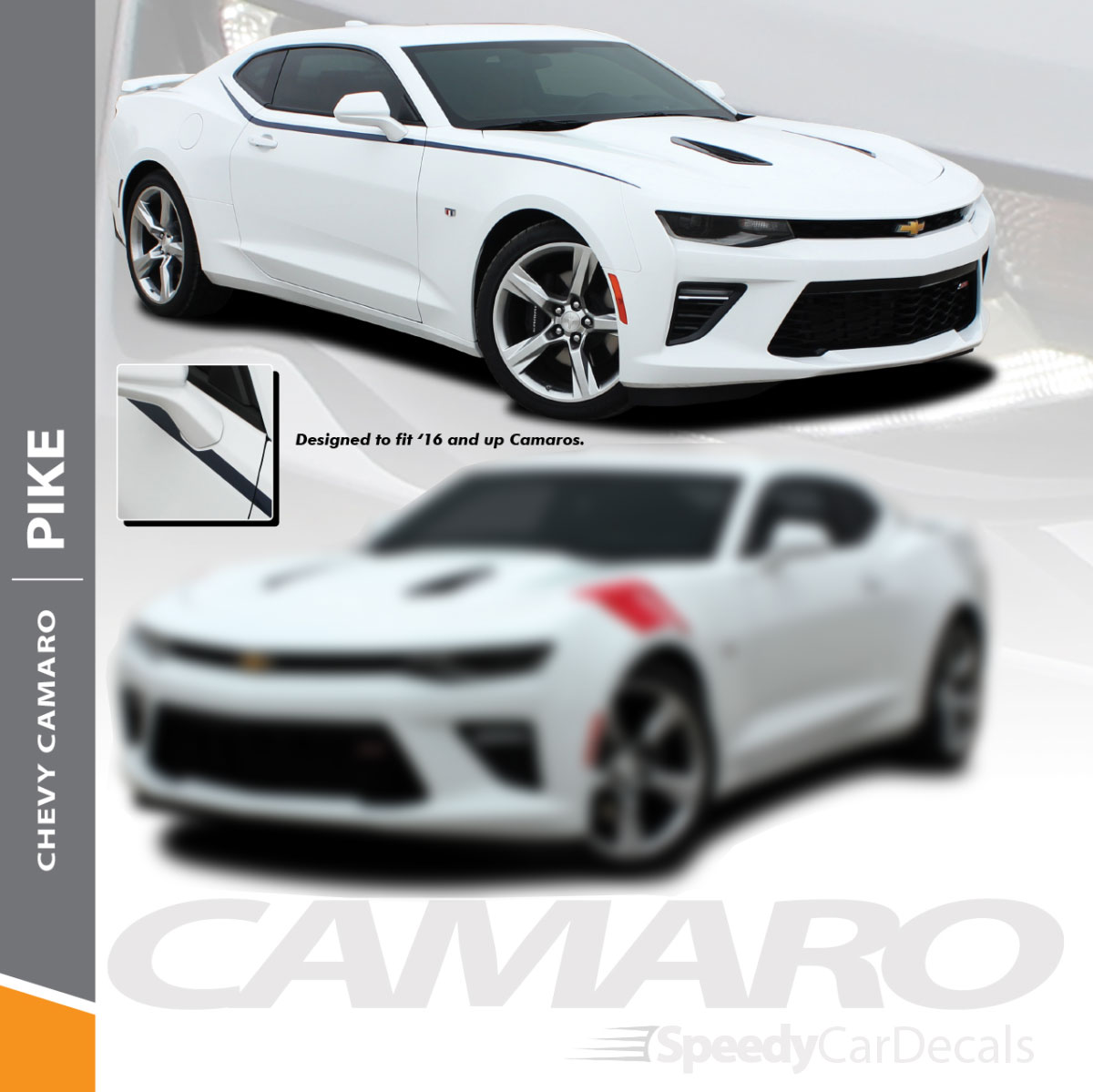 Camaro decals stickers pike side decals fender stripe graphics 2016 2018 wet and dry install