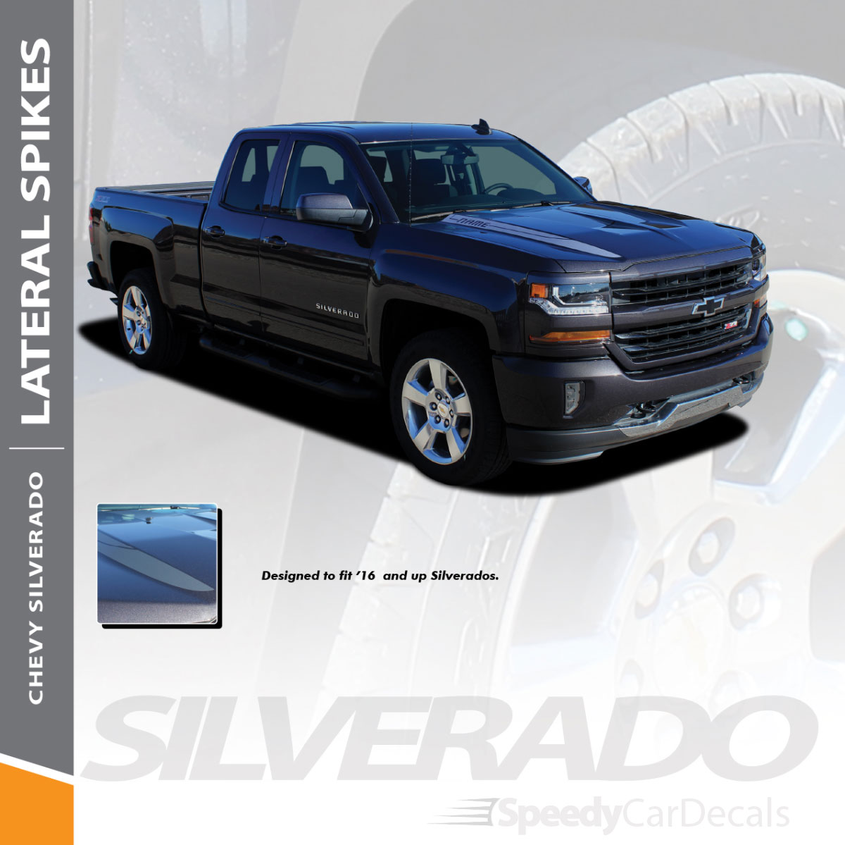 Chevy Silverado Hood Spear Stripes 2016 2017 2018  Vinyl Decal Graphics Style 2