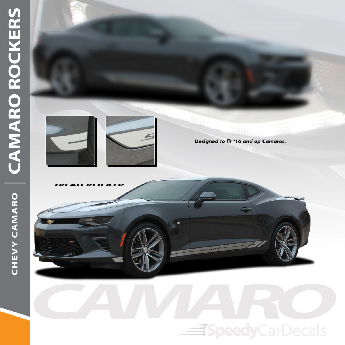 TREAD ROCKER2016-2018 Chevy Camaro Side Stripes Lower Graphics 3M Wet Install