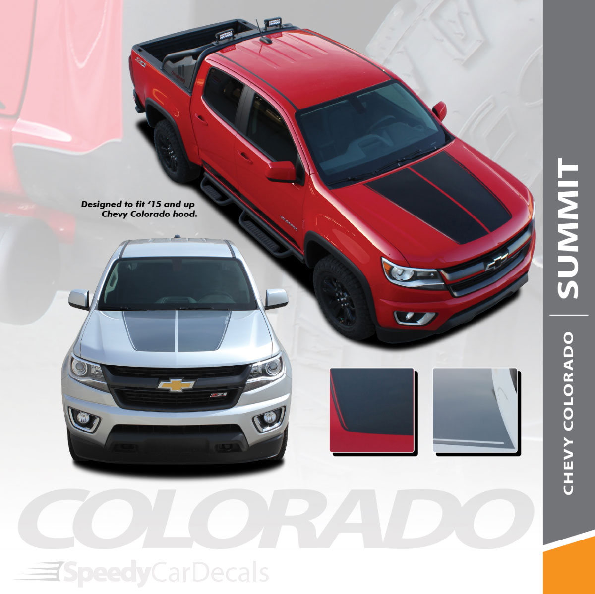 Summit 2015 2019 chevy colorado hood dual racing stripe factory oem style package vinyl