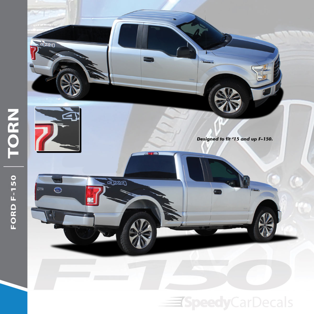 Torn 2015 2018 ford f 150 mudslinger side truck bed 4x4 vinyl graphics