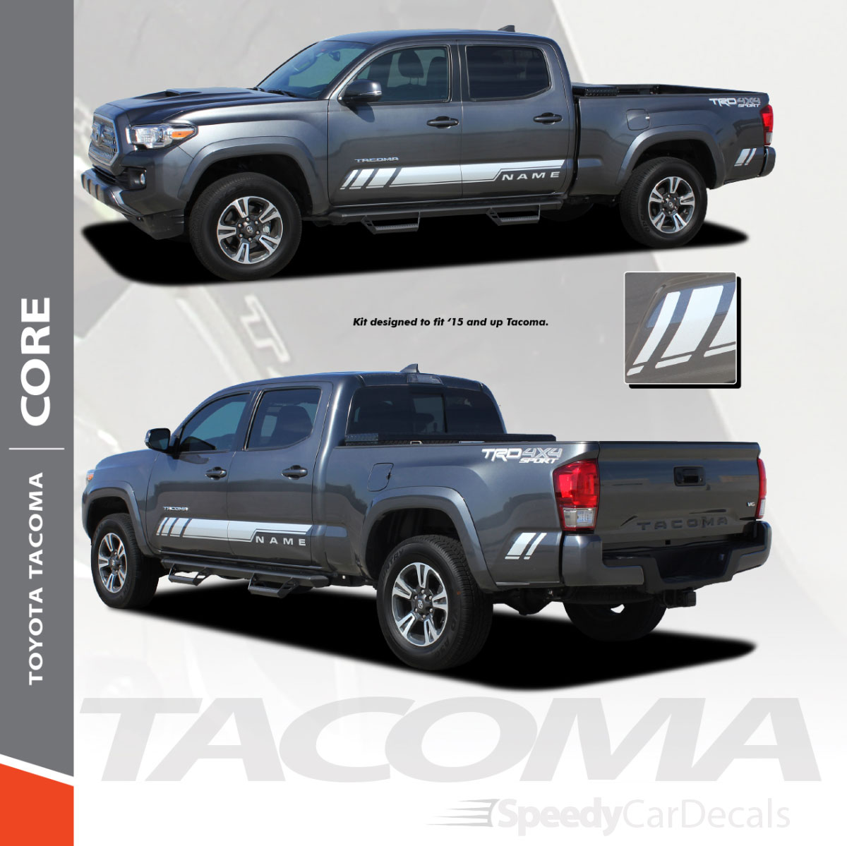 Magnetic Grey Vinyl Decals For 2016-2018 Toyota Tacoma Side Marker Lights New