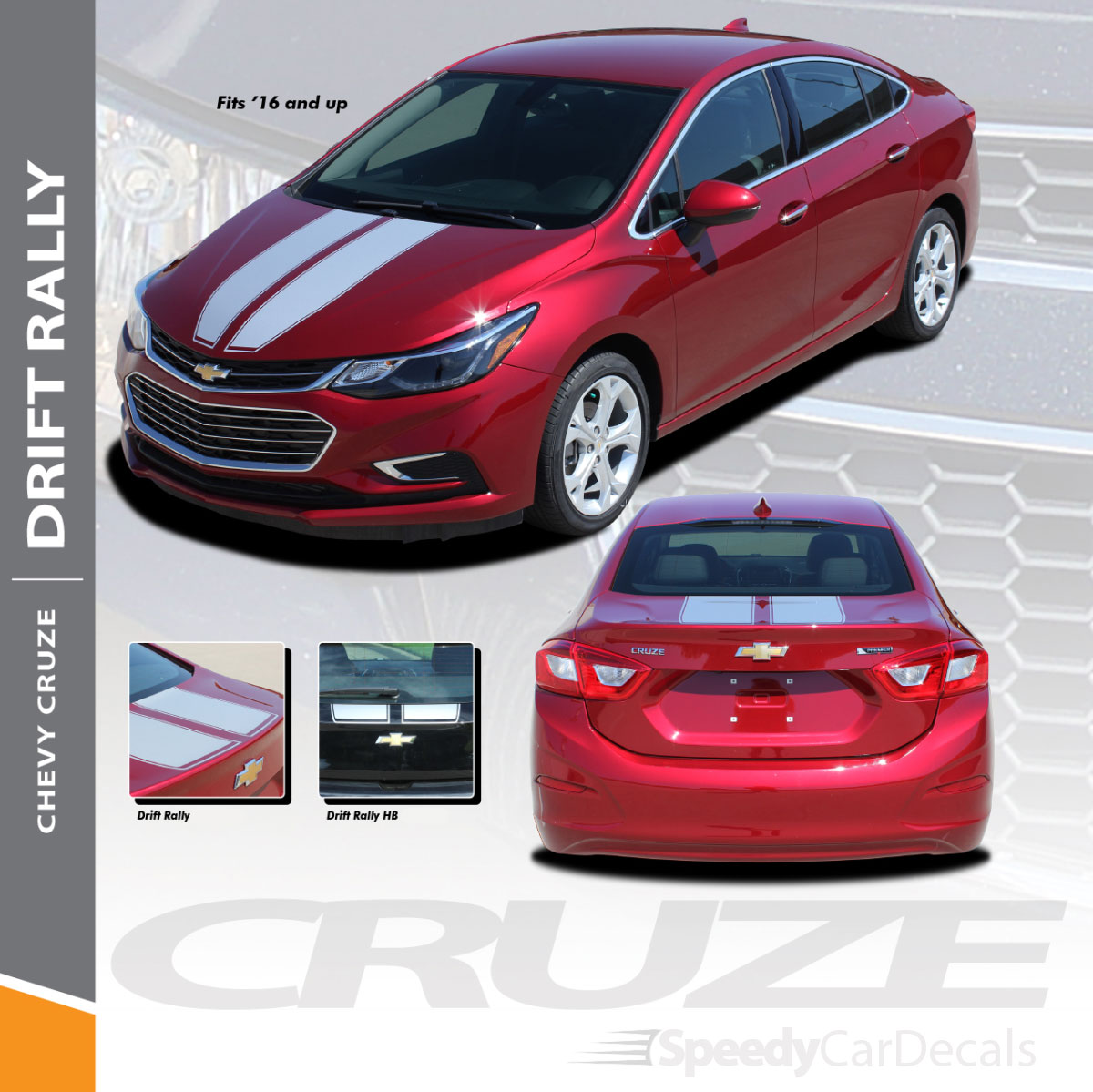 Chevy cruze dual racing stripes drift rally 3m 2016 2019 premium and supreme install