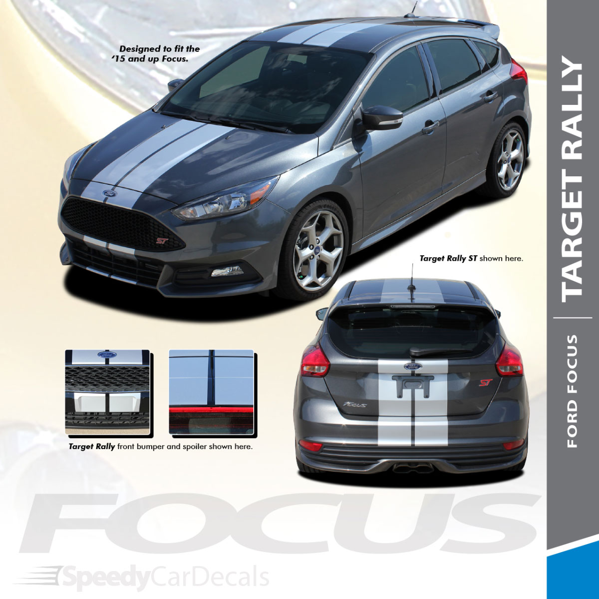 Ford Focus St Se Racing Stripes 3m Target Focus Rally 2015 2018 Wet