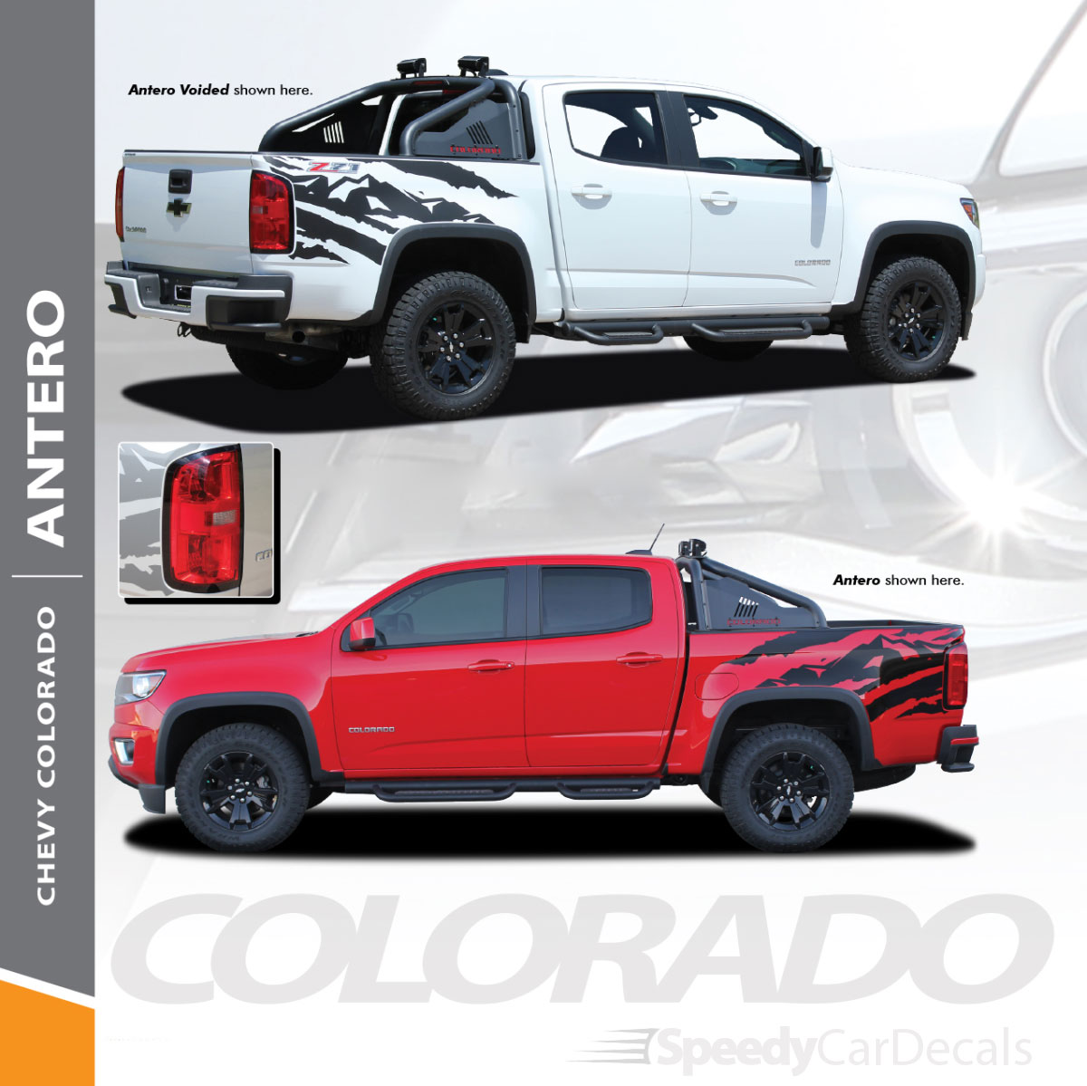 Antero 2015 2018 2019 chevy colorado rear truck bed accent vinyl graphic decal stripe