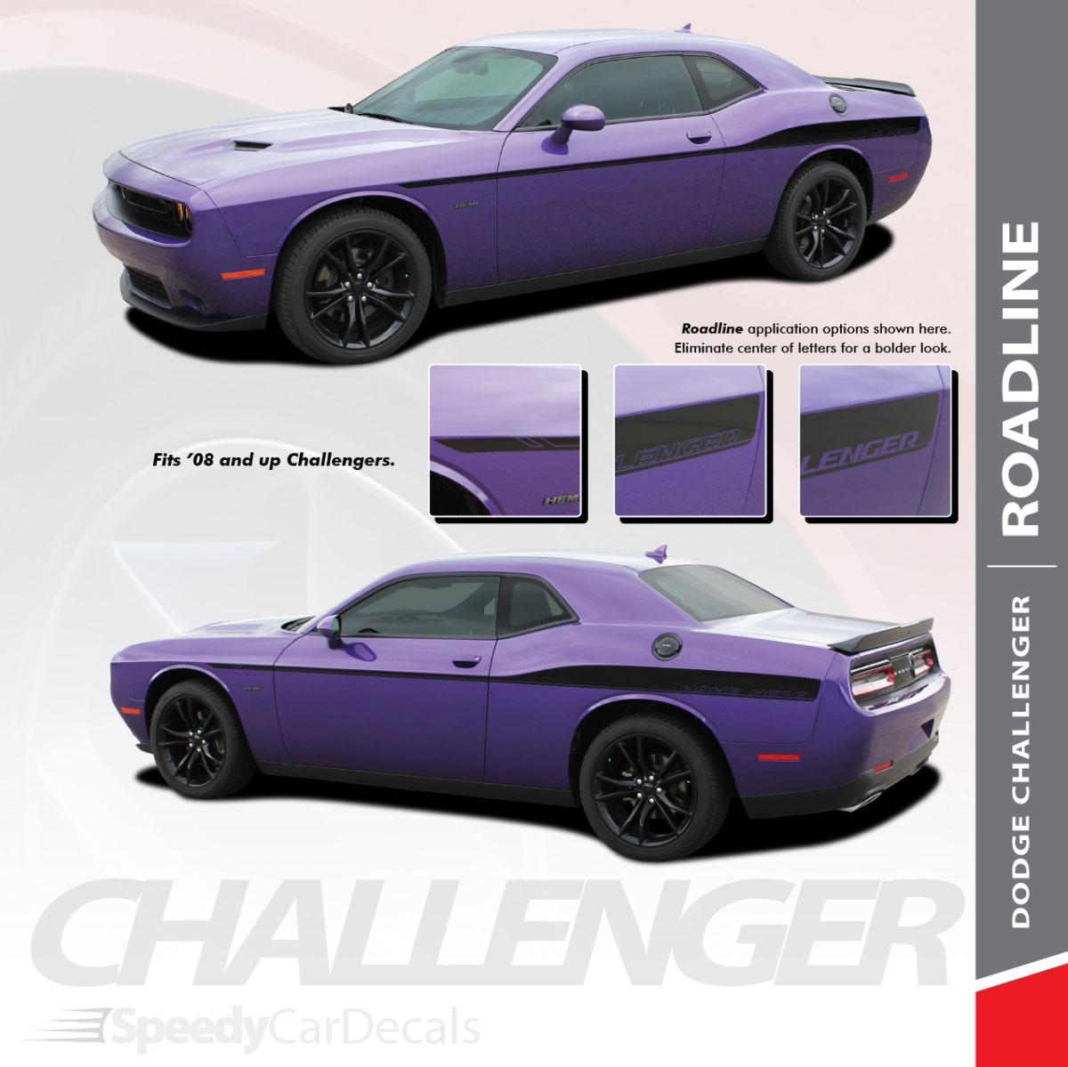 Roadline 2008 2018 2019 dodge challenger wide upper door vinyl graphics side stripes accent