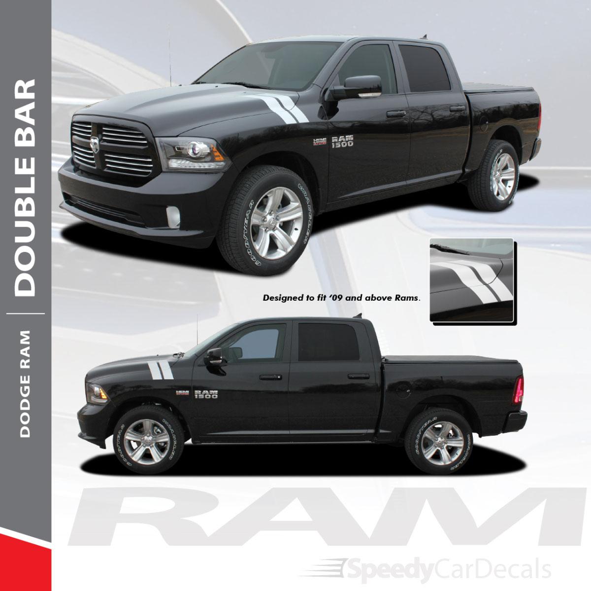 Ram double bar 2009 2018 dodge ram hood hash marks stripes decals vinyl graphics