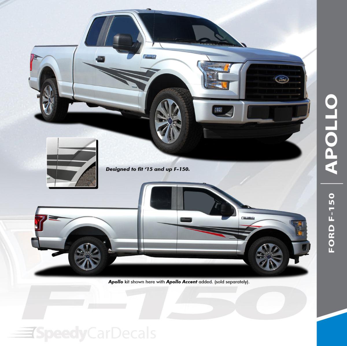 Apollo 2015 2020 ford f 150 side door splash design stripes vinyl graphics