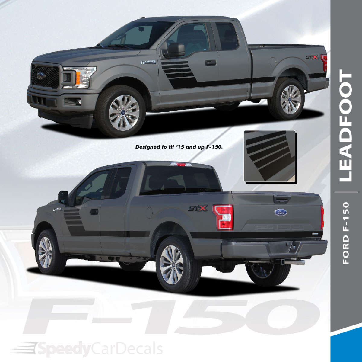 Ford truck decals graphics lead foot sides 2015 2018 2019