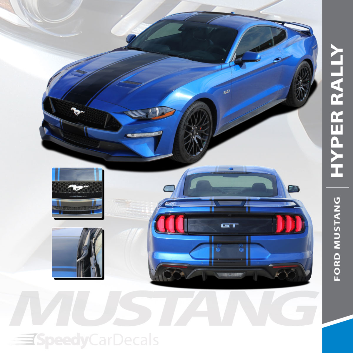 cc7b538773c30f ... HYPER RALLY   2018 Ford Mustang Stripes Euro Style Center Wide Racing  Stripes Vinyl Graphics Kit ...